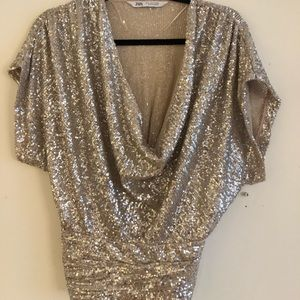 Silver sequins blouse
